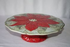 Gibson Christmas Holiday Cake Sandwich Pie Pedestal Platter Plate Server Stand | eBay