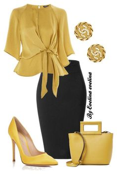 An Exquisite goldish wraparound beautiful blouse with a black tight fitted skirt. Accessorize gold earrings gold high heels and a goldish