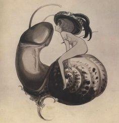 Sweet Snail, Franz von Bayros draw, snails, sweet snail, artists, ex libris, bayro 18661924, 19th century, franz von, von bayro