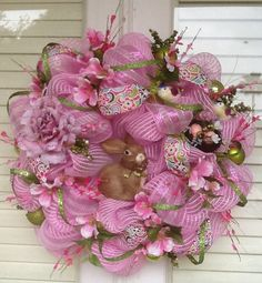 Pink Easter Bunny Wreath by HertasWreaths on Etsy, $145.00
