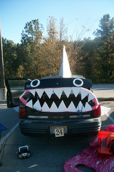Our (award winning) shark decorated car for Trunk or Treat