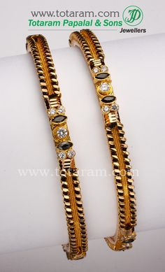 Totaram Jewelers: Buy 22 karat Gold jewelry & Diamond jewellery from India: 22K Gold Black beads Bangles - 1 pair