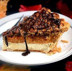 Three Pies in One!  Cheesecake, Pumpkin, Pecan Pie