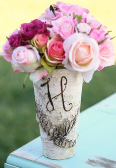 Personalized Birch Bark Wood Vase Rustic Home by braggingbags, $19.99