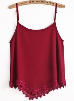 Red Spaghetti Strap Lace Vest US$18.94