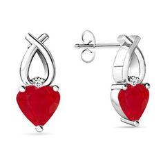 Heart Ruby Embrace Earrings #Angara