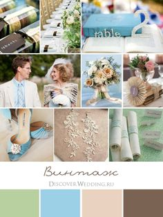vintage inspiration - green blue beige brown wedding palette