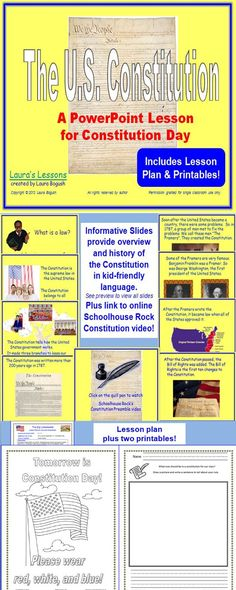 Constitution Day - Ready to use!  This PowerPoint lesson is age-appropriate with animations to keep K, 1st, or 2nd graders engaged. Lesson plan and worksheets are included too! $