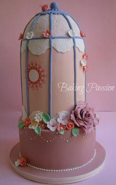 Pastel Jaula primaveral fondant Baking Passion
