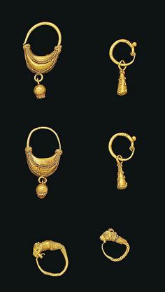 SIX GREEK GOLD EARRINGS   HELLENISTIC PERIOD, CIRCA 4TH-3RD CENTURY B.C.
