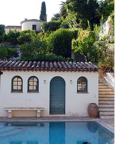 Spanish pool house