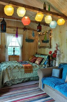 Church Camp cabin idea! Red Mexican bedroom | Mexico Interior Decorating Ideas | Better Home and Garden