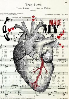 Human Anatomy Heart Illustration  You Make My by OnceTattered