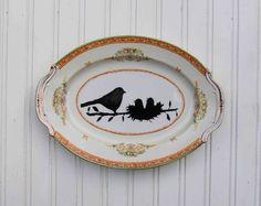 2014 Hand painted vintage plate - Blackbirds & Bumblebees