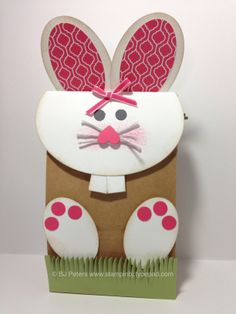 Hoppity Hop Hop - super cute Bunny bag using Stampin' Up!'s oval framelits.  Fun project to put those Easter treats into!  Part of the Stampers Dozen blog hop.  Hop onto my blog to check it out; http://stampinbj.typepad.com/weblog/2014/03/hoppity-hop-hop-bunny-gift-bag.html  BJ Peters