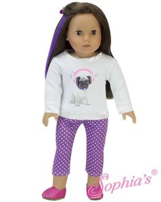 "Pug Tee Shirt & Purple Polka Dot Leggings fit 18"" American Girl Doll"