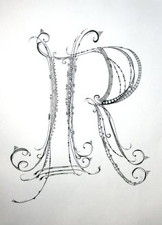 """Zenspirations Monogram """"R"""" Drawing on Bright White Drawing Paper with """"Micron"""" Ink and """"Gelly Roll"""" Gel Pens.. $19.99, via Etsy."""