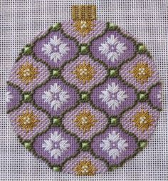 Lilac Florentine Bauble needlepoint ornament. Stitched by Joan Lohr. Canvas by Kirk and Bradley.