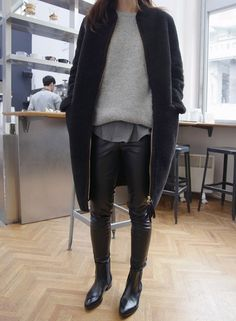 sweater, fashion, style, chelsea boots, winter outfits, leather leggings, black jeans, leather pants, coats