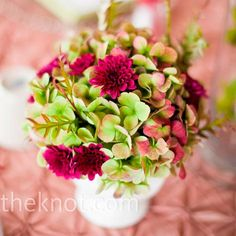hot pink mum, or dahlia and green hydrangea