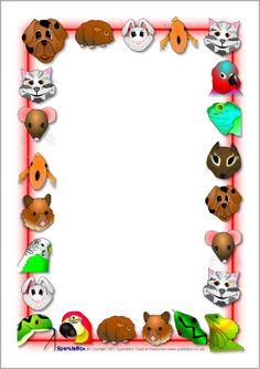 Pets-themed A4 page borders (SB3975) - SparkleBox