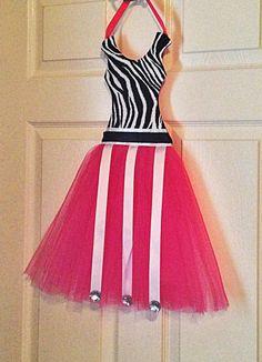 Zebra print and pink Tutu Hairbow Hair Bow Holder