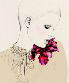 drawing people, fashion sketches, drawing hair, fashion art, watercolor flowers