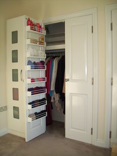 Door storage might mean fewer drawers required, which might mean less furniture needed in the room. This makes the room look bigger! diy ideas, bedroom storage, closet doors, decorating ideas, storage ideas bedroom, door storag, diy gifts, linen closets, drawer