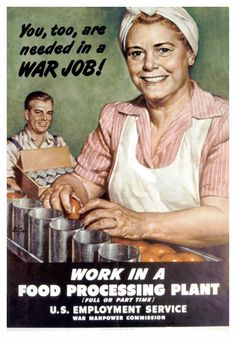 'Work in a food processing plant.' Published: 1945
