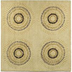 Handmade Deco Explosions Beige/ Multi N. Z. Wool Rug (8' Square)