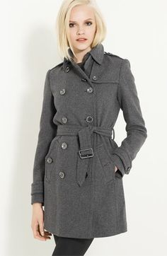 Burberry Brit Double Breasted Wool Trench