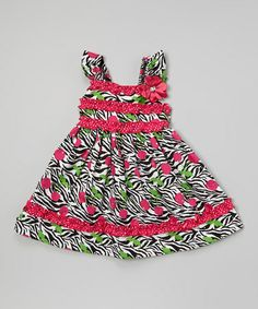 Look what I found on #zulily! Fuchsia & Black Zebra Cherry Ruffle Dress - Toddler & Girls by Youngland #zulilyfinds