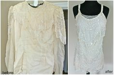 Stained 80's Blouse Sewn Stunner Dress