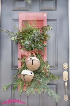 old shutters, pink christmas, outdoor christmas decorations, christma decor, jingle bells, the craft, front doors, country christmas, christmas door