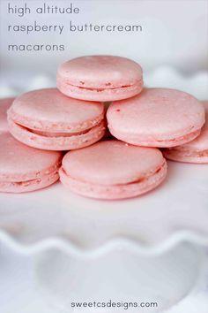 raspberry buttercream macarons -this recipe works well at high altitude, too! macaron recip, work well, recip work, raspberri buttercream, altitud macaron, altitud raspberri, high altitud, raspberries, buttercream macaron