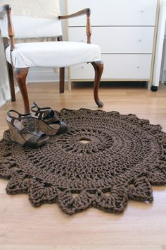 Rug made with macrame nylon yarn ~ROUND BEDROOM RUG Handmade Crochet Nylon Chocolate Brown Home Decor. via Etsy.