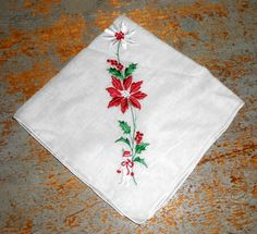 Vintage Handkerchief Christmas Poinsettia Snowman by TheBackShak, $6.00