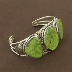 Sterling Silver Gaspeite Three Nugget Stamped Cuff Bracelet. - Fire and Ice #jewelry Shannon Garl--stop;) so so cute!!!