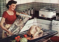 Preparing the Thanksgiving turkey, 1950s. #vintage #Thanksgiving #Christmas #1950s