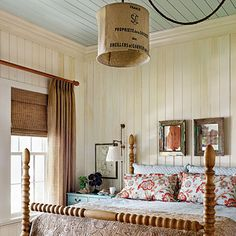 Country Inspired Master or Guest Bedroom - Burlap Bag Lamp Chandelier - Wood Plank Walls - Grey Blue Ceiling