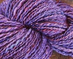 Handspun Yarn Wool BFL and Corriedale 3ply Purple 3.8 oz
