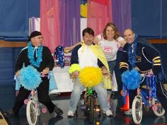 Our school Principal raced against our two Parish Priests on childrens bicycles (with flat tires) around the gym while being cheered on by students, parishoners and staff to celebrate a succssful year with Box Tops!