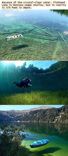 Clearest lake  - montana. Not sure if I'd like it or not it was scary enough snorkeling in the ocean seeing sting rays and stuff. This might scare me too lol