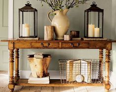 console table ~wire basket & lanterns