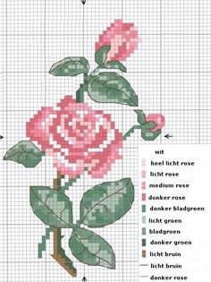 Kruissteek borduurpatroon roos - Hobby - via http://bit.ly/epinner pink roses, crossstitch, cross stitch charts, crosses, cross stitch patterns, blog, count cross, cross stitches, embroideri