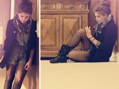 Dress up your combat boots with printed tights & a blazer #trends #2013 #fall