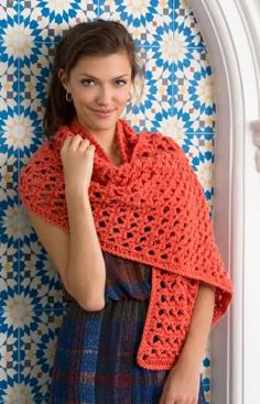 Coral Wrap Free Crochet Pattern from Red Heart Yarns