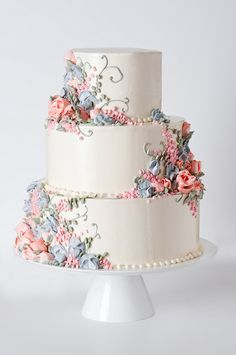 impressionist flower wedding cake