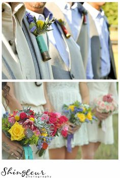 Shotgun Shell Boutonnieres mis-matched bridesmaids bouqets A Gorgeous Bohemian Barn Wedding Dardanelle, Arkansas Shingleur Photography The Barn at Twin Oaks Ranch
