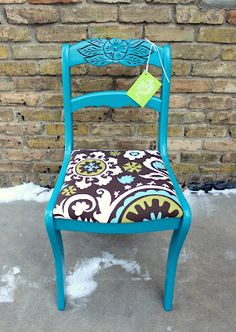 teal chair with matching fabric... We can do this with Papa's kitchen chairs!  It's the same chair! @Leigh Muil @Nancy Muil @Brenda Franklin Nelson Jordan @Lindsey Grande Grande Jordan